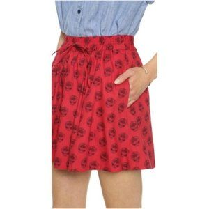 Madewell Turntable Red Floral Elastic Waist Skirt